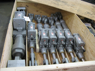 Various sized hydraulic snubbers ready for shipping