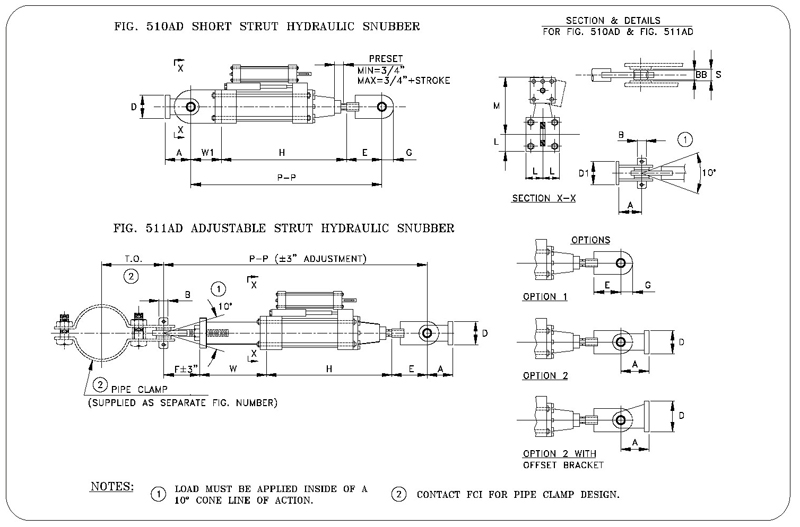 Fig. 510AD Short Strut Hydraulic Snubber and Fig. 511AD Adjustable Strut Hydraulic Snubber