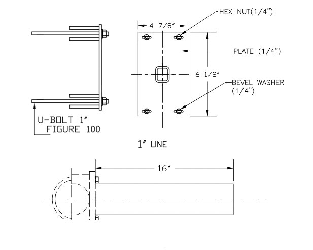 "Drawing for IS-665 U-Bolt Mount w/ Sq. Leg for 1"" Dia. Line"