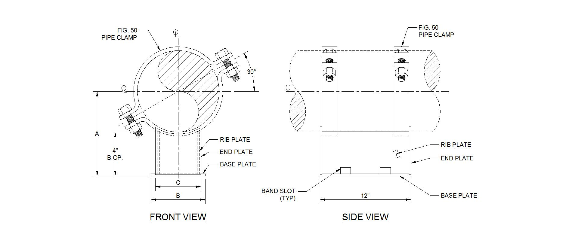 Supports With No Field Welding Piping Technology Products Inc Line Diagram 1400 Pipe Shoe Clamp