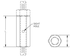 Fig. 35: Rod Coupling - Straight with Site Hole