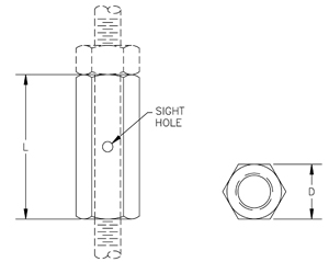 Fig. 35: Rod Coupling – Straight with Site Hole