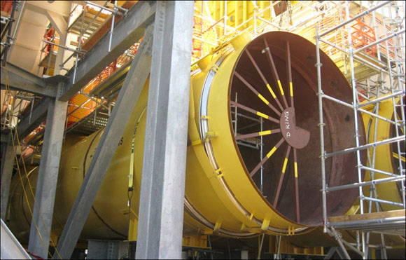 Close-up view of a Large Dia. Expansion Joint & Duct Work Assembly In-Service