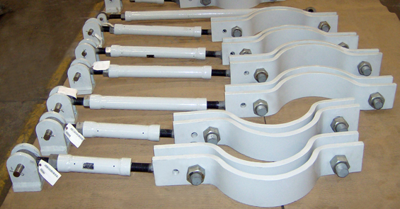 Sway Strut Assemblies with Custom Designed 3-Bolt Pipe Clamps