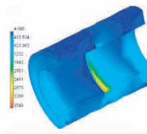 FEA of a cut away view on insulation stresses