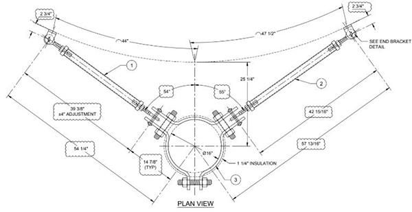 PT&P designed support drawing with heavier strut and bi-way clamp to connect 2 struts to pipe