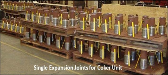 Single expansion joints for coker unit